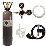 Guemmer products CO2 Anlage Komplett-Set für Aquarien mit 2kg Mehrwegflasche, gefüllt, NEU, inklusive Druckminderer, Nachtabschaltung mit Rückschlagventil und Diffusor (Profi, 2Kg)