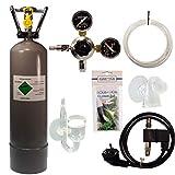 Guemmer products co2 Anlage Aquarium Komplett-Set für Aquarien mit 2kg Mehrwegflasche, gefüllt, NEU, inklusive Druckminderer, Nachtabschaltung mit Rückschlagventil, Diffusor und Co2 Dauertest