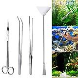 UEETEK 4PCS Edelstahl-Aquarium-Behälter-Wasserpflanze-Pinzette und Scheren-Spatel-Werkzeug-Satz