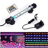 SolarNovo 18-112cm LED Aquarium-Licht Unterwasser BeleuchtungAufsatzleuchte Abdeckung Wasserdicht Lampe Stecker EU für Fisch Tank mit Fernbedienung RGB Farbwechsel (1.8 * 18cm, RGB)