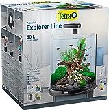 Tetra Explorer Line 60 L Aquarium Komplett-Set - Design Aquarium mit gebogener Frontscheibe, LED-Beleuchtung, Technik, Futter und Pflegemitteln, Farbe: Schwarz
