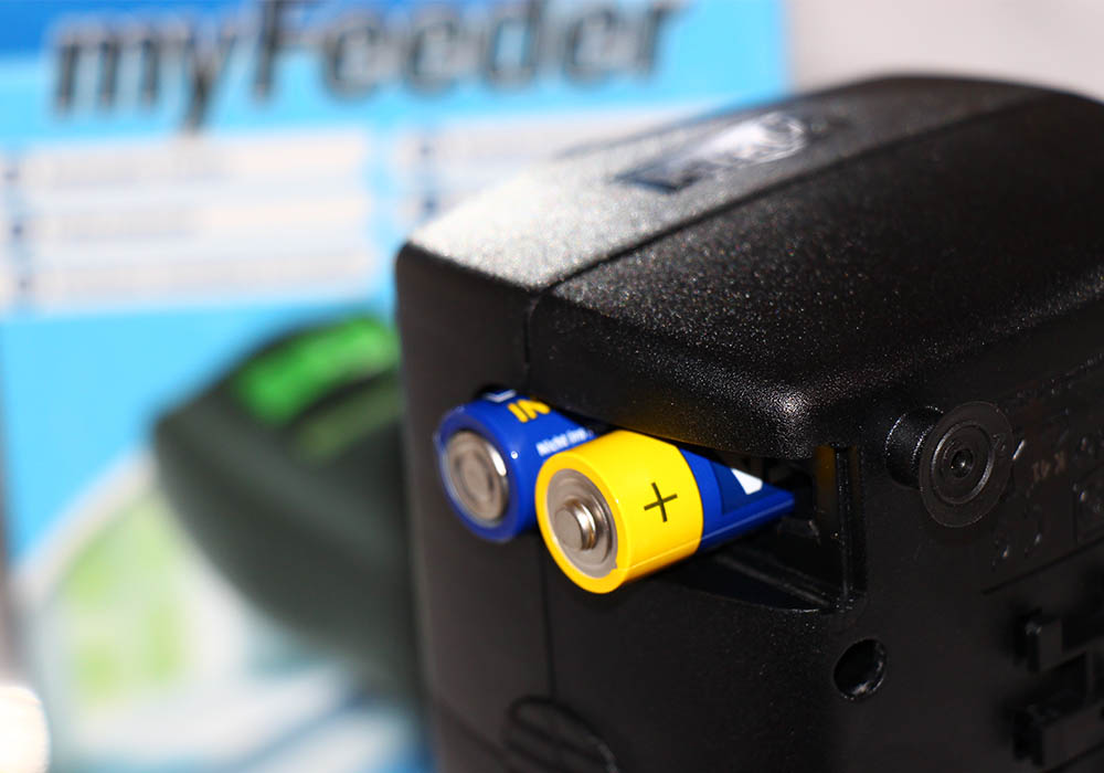 Praktische Stromversorgung per Batterien am myFeeder