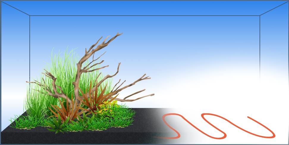 Bodenheizung und Bodenfluter im Aquarium verlegen